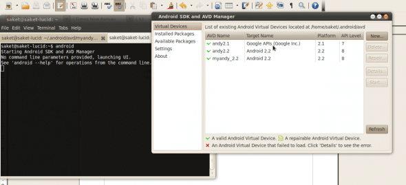 Launching the Android SDK and AVD Manager