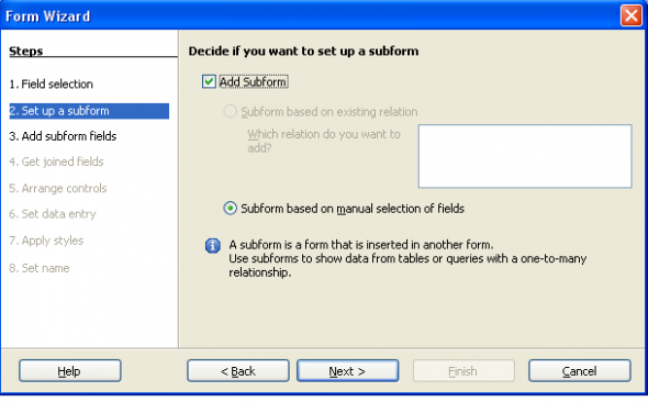 Form wizard window with option to add subform is selected