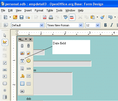 Draw date-field from toolbox to form