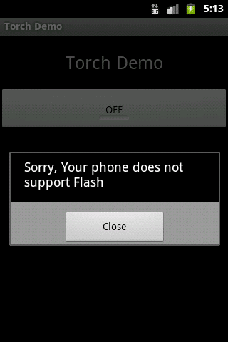 Alert dialogue informs phone doesn't support flash