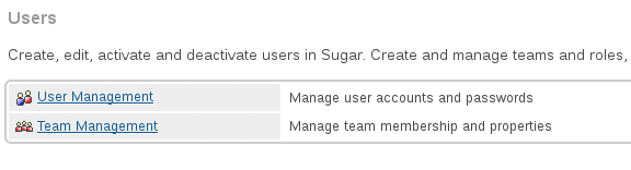 User management options