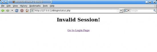 Figure 8: Status message after logging out