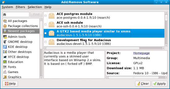 Figure 1: The PackageKit GUI