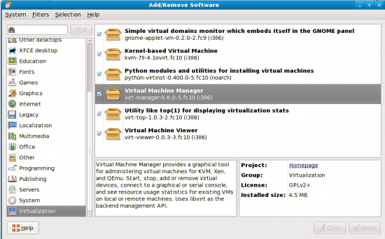 KVM on Fedora 10: Virtualisation Out-of-the-Box