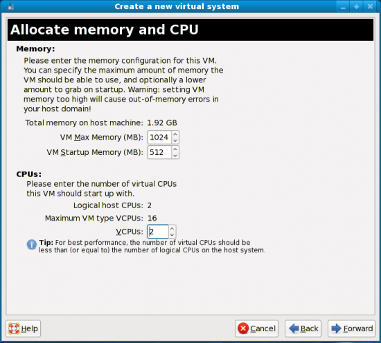 Figure 7: Allocate memory and CPU