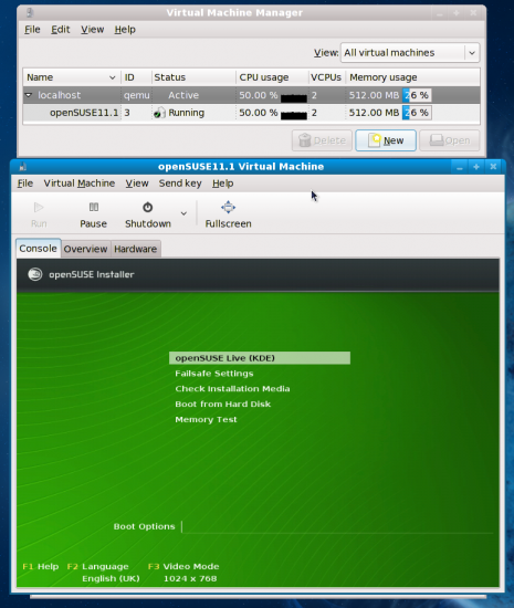 Figure 8: Virt-Manager booting the openSUSE 11.1 RC KDE live CD