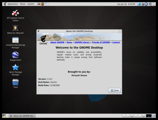 Figure 4: Sabayon's GNOME desktop