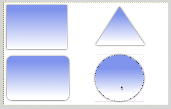 Figure 7: Different shapes in GIMP