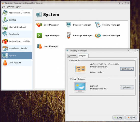 Figure 3: Tasma and Display Manager