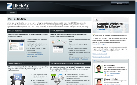 Figure 1: Liferay start page