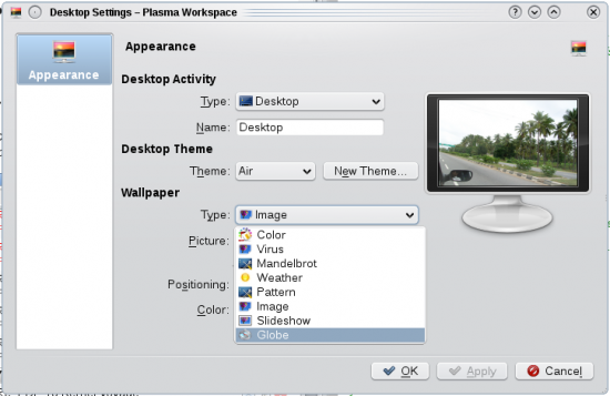 Figure 1: Wallpaper Types under Desktop Settings