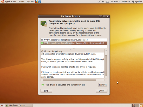 Figure 13: Ubuntu suggests I should be better off with NVIDIA's non-free drivers