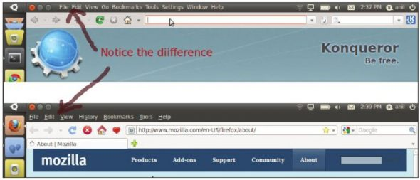 Ubuntu Netbook: The difference in the panel: a. Konqueror is active, b. Firefox is active