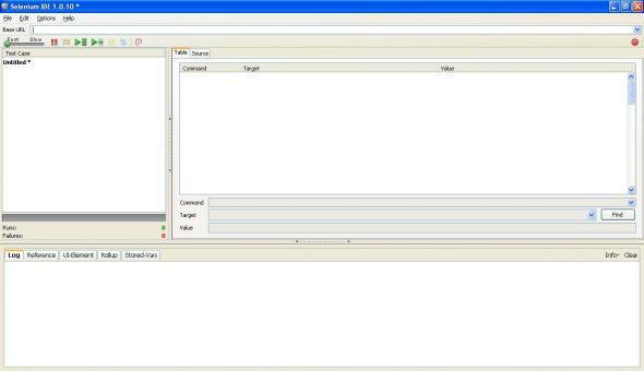 Selenium IDE default screen