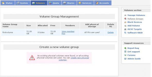 Volume group management