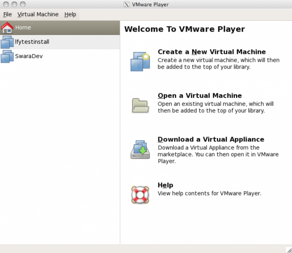 The VMware Player Inventory