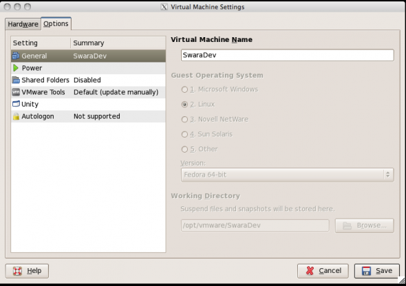 Options settings on VMware Player