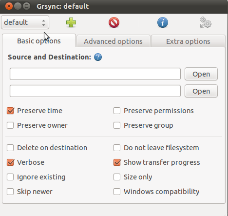 The Interface for Grsync