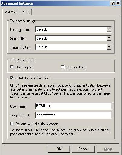 CHAP log-on information