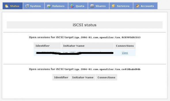 iSCSI status