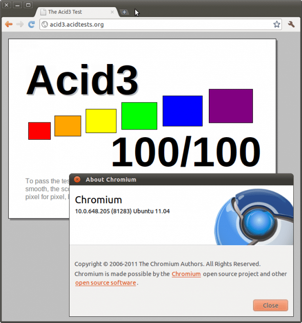 Chromium ported to ARM -- ACID3