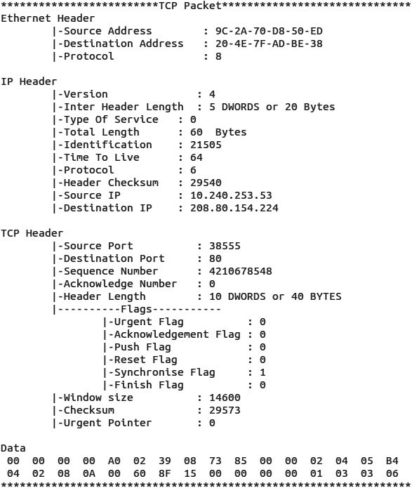 Figure 10 TCP Packet