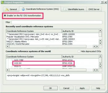 Figure 4 Enabling on-the-fly projection and choosing the common projection