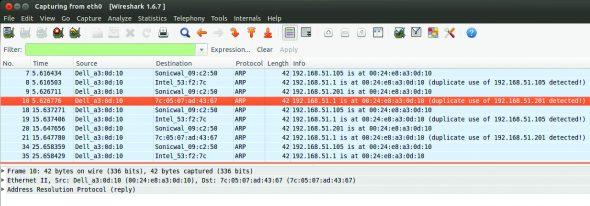 Screenshot3 Wireshark Capture on Attacker PC, ARP Packets
