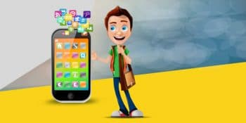 Smartphone with  3d character people
