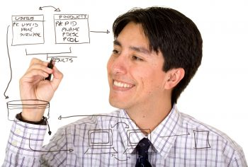 Business man drawing a database plan on the screen_742663_l