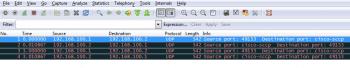 Figure 3 Wireshark window showing pcap trace file