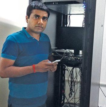Chinmay Agarwal, co-founder and CTO of Jugnoo, at the Jugnoo server room
