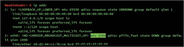 Figure 10 MTU value shown by ip addr command