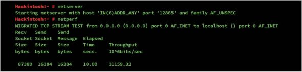 Figure 6 netperf running as a server and client on the same system   network performance monitoring