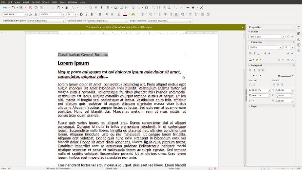 LibreOffice 5.2 with document classification