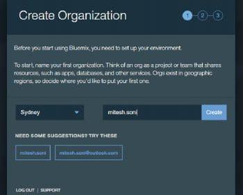 Figure 3 Creating an organisation in IBM Bluemix