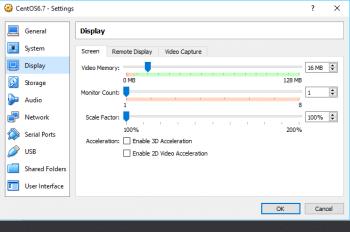 Figure 7 Virtual Box Display Settings