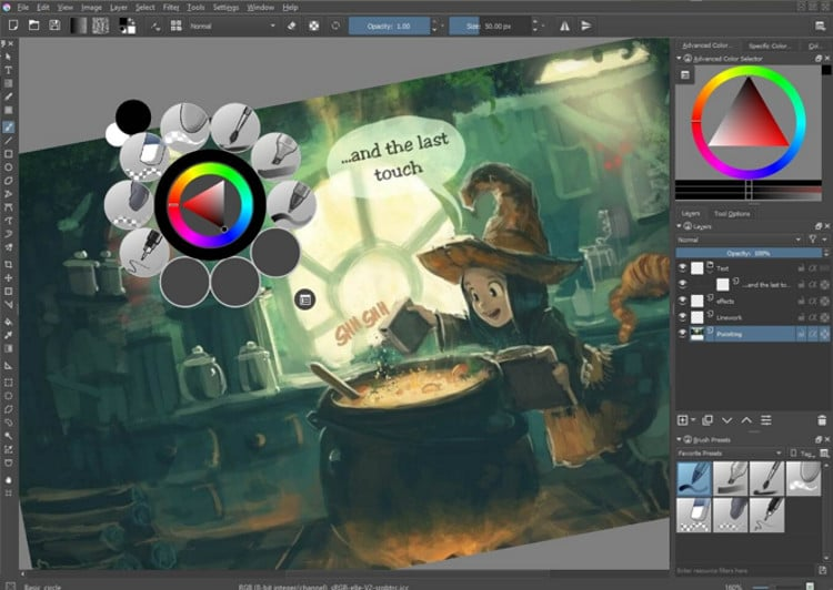 Krita app updates with GIMP improvements