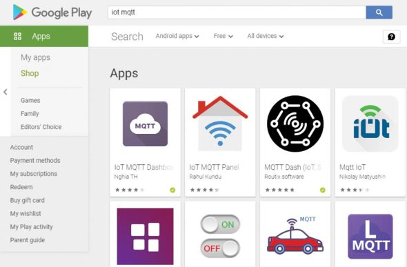 Figure 4 IoT MQTT apps on Google Play Store