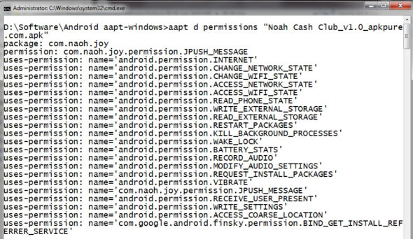 Display permissions of Android app in AAPT tool