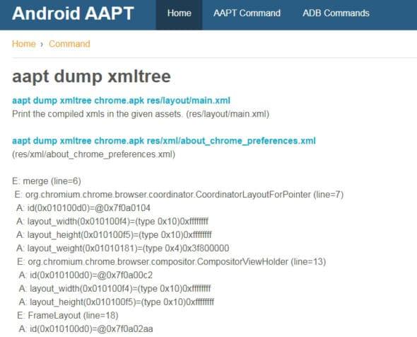 Generation of XML tree of APK file