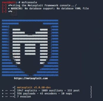 msfconsole in Kali linux