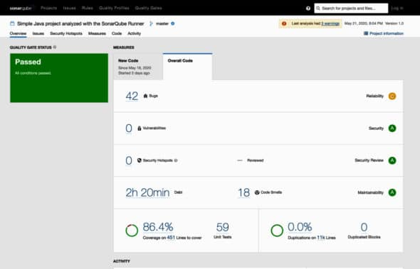 SonarQube project dashboard after analysis from Jenkins
