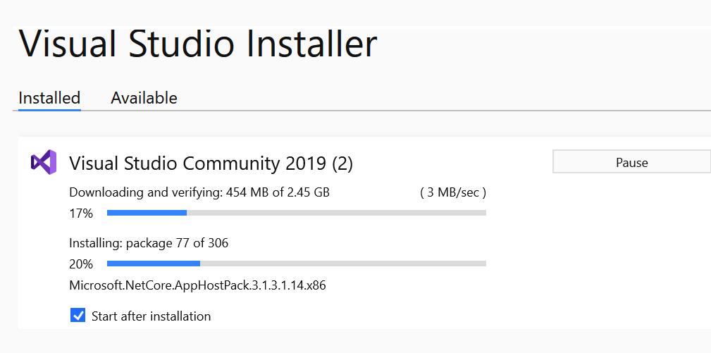 Monitoring the progress of Visual Studio installer