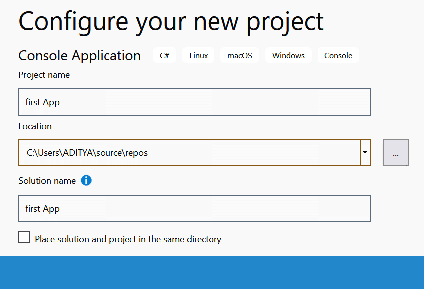 Configuring project name and path location