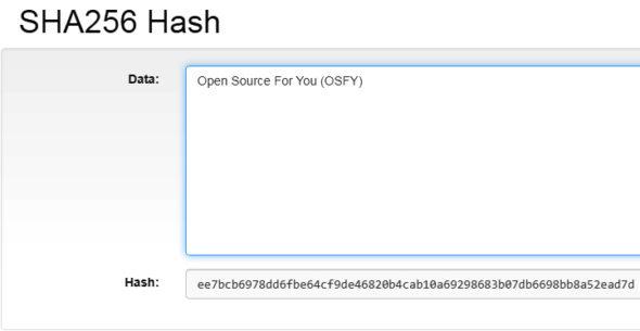 Demonstration of SHA 256 hashing in blockchain
