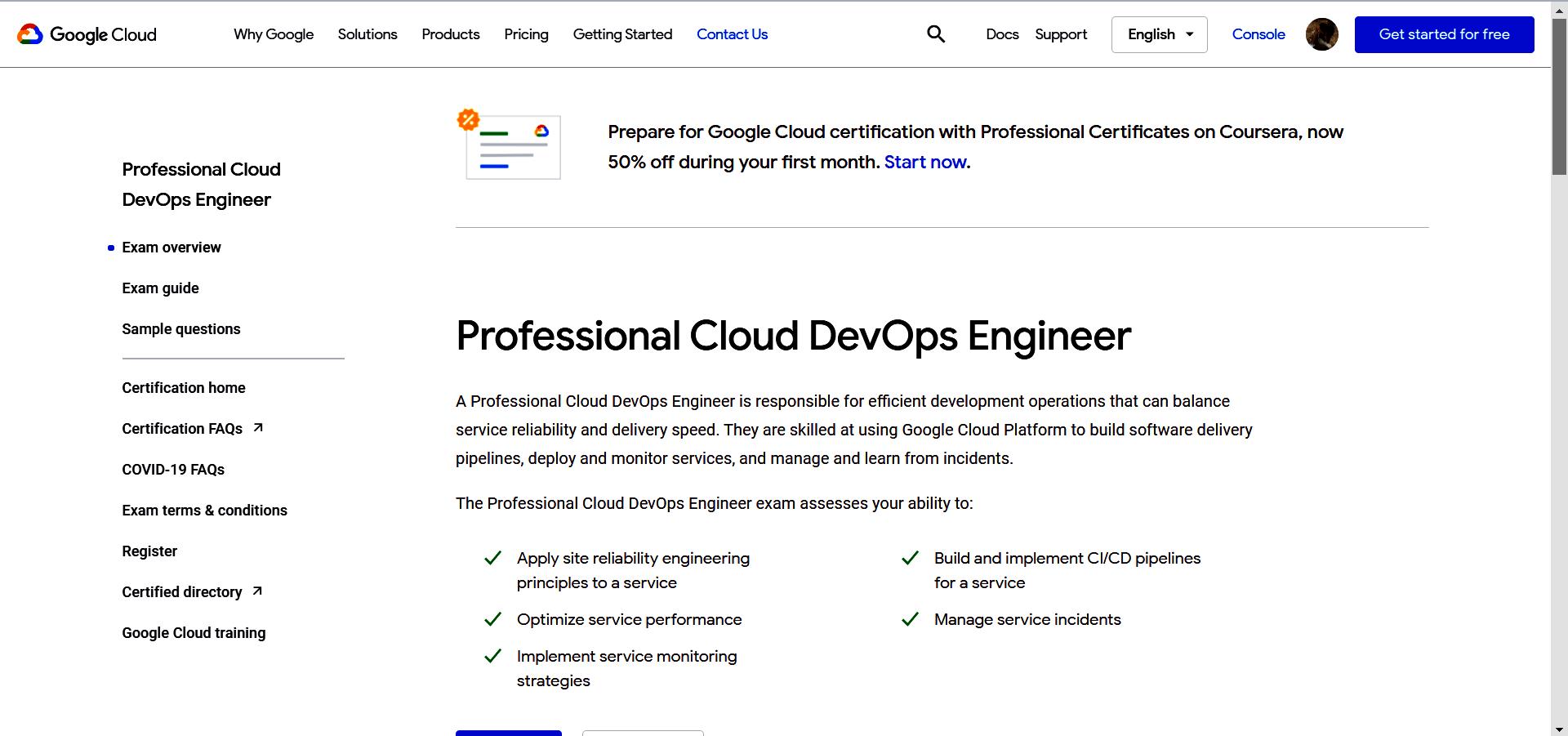 Google - Professional Cloud DevOps Engineer