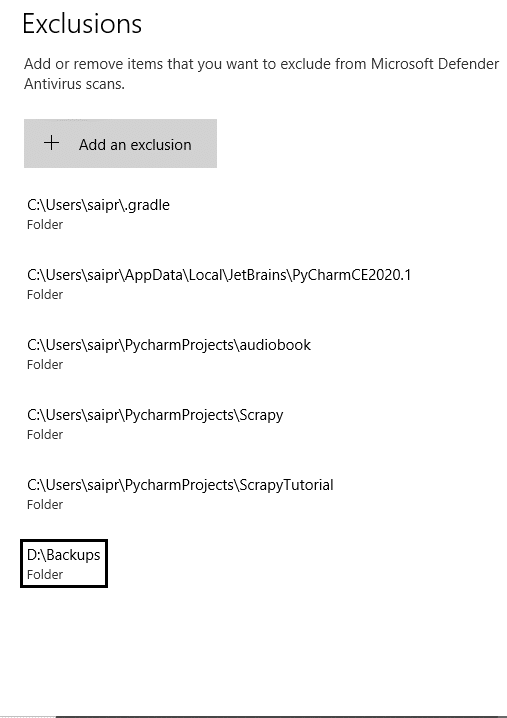 Add exclusion to Windows defender