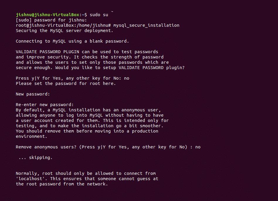 mysql secure installation -1