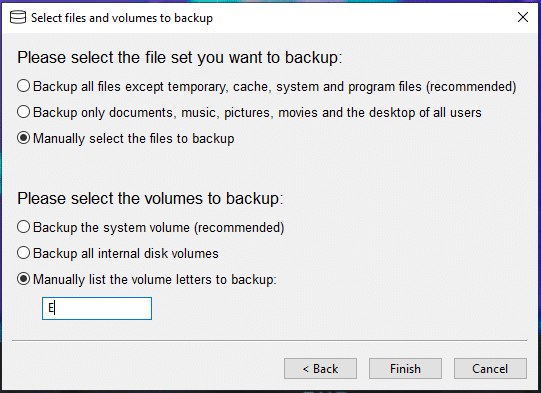 Select files and volumes for backup